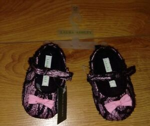 Laura Ashley New Baby Girl Black And Pink Pre Walker Dress Shoes Size 2 Infant