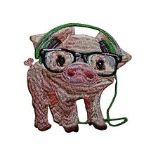Pig With Headphones Embroidered Iron On Patch - Hog Piggy Farm Animal   060-C