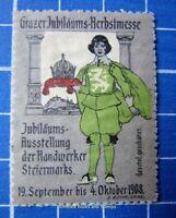 Cinderella/Poster Stamp - Austria 1908 Grazer Herbstmesse Graz Fair crown 9522