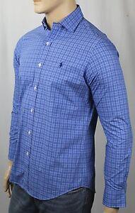 Ralph Lauren Blue Plaid Classic Dress Shirt Navy Pony NWT