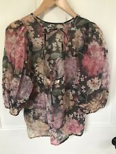 H&M Puff Sleeve Top Pink Floral Tie Back Size Small New with Tags