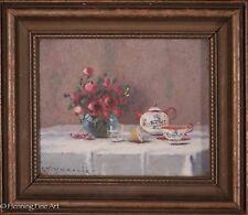 Karl Vokovic Original Still Life OIl Painting, Chinese Porcelain & Flowers, FINE