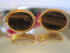 Gold-Tone Cufflinks with Tiger's Eye Stones, Signed Destino