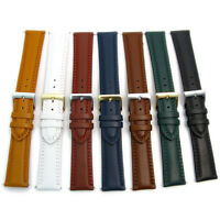 Padded Double Stitched Leather Watch Band Strap 18mm 20mm 22mm 7 Colours C021
