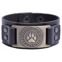 Pagan Vikings Runes Bear Paw Print Leather Bracelet Wristband Jewelry for Unisex