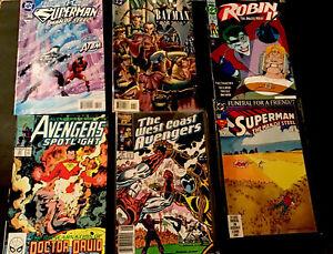 LOT OF~ SIX COMIC BOOKS~ SUPERMAN, AVENGERS, ROBIN HOOD & BATMAN!
