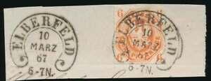 Preußen Hufeisenstempel ELBERFELD 10 MÄRZ 67 auf Nr. 15 Briefstück (51741)