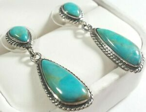"""925 STERLING SMALL BRAIDED DESIGN TURQUOISE 1 3/8"""" POST EARRINGS 4.37GR"""