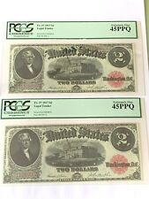 Lot of 2 Consecutive - 1917 $2 Legal Tender Fr. 57 PCGS 45PPQ Extremely Fine