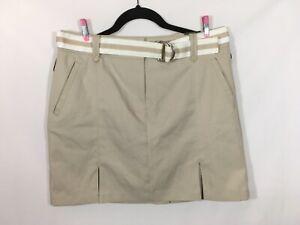 NWT Women's Izod Golf Skort Tan/Beige, Belted, UPF 50, Wicking Fabric Size 6