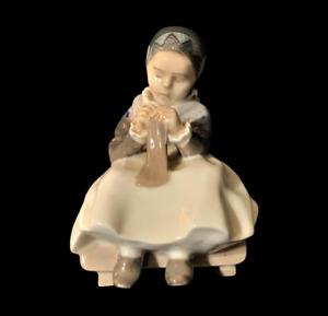 Vintage Royal Copenhagen Porcelain Figurine Knitting Amager Girl No. 1314