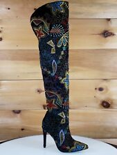 Red Cherry Carlie Black Velvet Colorful Embroidered High Heel Over the Knee Boot