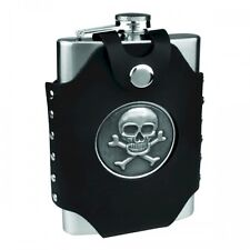 New 8 oz Stainless Steel Skull & Cross Bones Emblem Hip Flask & Filling Funnel