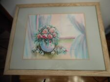 D. BROWN LOVELY FLORAL FRAMED & SIGNED OIL PAINTING IN PASTEL COLORS 30.5 X 24.5