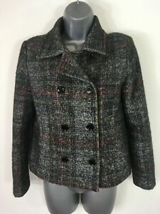 WOMENS ZARA GREY MULTI BUTTON UP SMART BLAZER STYLE SHORT FITTED JACKET EUR S