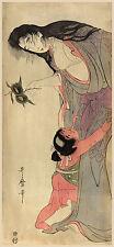 Japanese Art Print:Yamauba holding chestnuts with Kintaro. Fine Art Reproduction