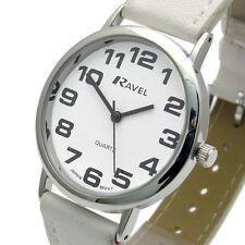 Ravel Easy Read Unisex Quartz Watch White Strap R0105.13.4a