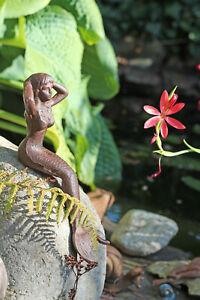 "Kantenhocker Meerjungfrau "" MITTEL"" Gusseisen Deco Garten  Braun Figur Skulptur"