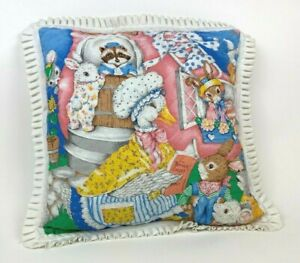 Vtg MOTHER GOOSE Nursery Rhymes THROW Pillow RUFFLE Humpty QUILTED Peter Rabbit