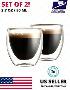 Double Wall Espresso Insulated Glass Cups Set Of 2 80ml Coffee Mug Tea Glasses