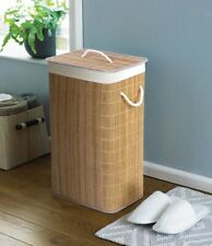 Eco Friendly Design Natural Bamboo Laundry Hamper Bins Fold Down Clothes Baskets