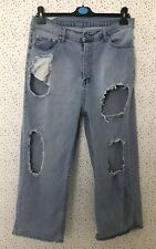 """Cheap Monday Blue Denim Omega Cropped Torn Ripped Distressed Jeans Size 30"""""""