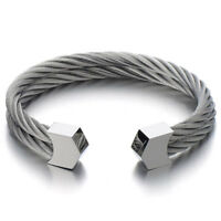 Mens Womens Stainless Steel Bangles Two Rows Twisted Cable Love Cuff Bracelet