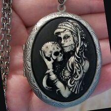 Bo Ho Gypsy Sugar Skull LADY w/ SKULL Painted Cameo Locket Necklace DAY OF DEAD