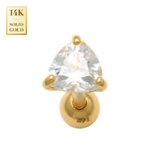 14K REAL Solid Gold Trillion CZ Stud Helix Tragus Cartilage Earring Piercing 18G