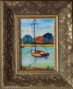 Boris Pavlov 1928-2005 russischer Expressionist-An der Durance-Transportboot xxx
