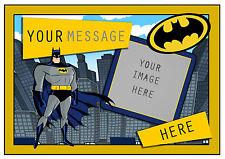 BATMAN SUPERHERO PERSONALISED A4 CAKE TOPPER, ADD PHOTO , EDIBLE ICING SHEET