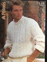"Patons Aran Knitting Pattern For Men's Sweater Jumper Size 34/44"""