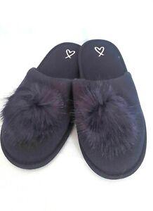 Victoria's Secret Pom Pom Slippers Classic Navy Blue SMALL (5-6) NWT