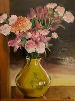 Original oil painting 16x12 - Still Life - Flowers in Yellow vase