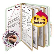 Smead Pressboard Classification Folders Letter Eight-Section Gray/Green 10/Box