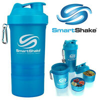 Smart Shake Protein Bottle Mixer Shaker Cup SmartShake Original Neon Blue 600ml