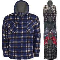 Fleece Sherpa Lined Hooded Padded Lumberjack Shirt Jacket Fur Winter Warm M-5XL