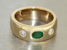 Allianzring Gold 585 Gold Ring with Diamonds and Emerald Classic Ring Gold