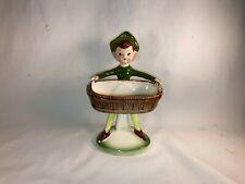"""Vintage 1950's Ceramic Pixie Elf Figurine Trinket Dish 6 1/2"""" tall"""