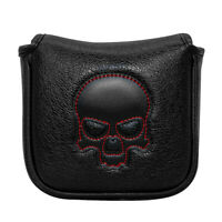 New Black Skull Square Mallet Putter Cover Headcover Magnetic Protect Golf Clubs