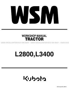 Kubota L2800 L3400 Tractors Printed Service Repair Workshop Manual 9Y011-13194