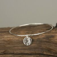 Silver Hammered  Disc Charm Bangle - Handmade Sterling Silver Hammered Bangle