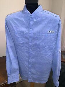 Columbia PFG Omni Shade Blue Digital Camo Fishing Shirt Vented MEDIUM M