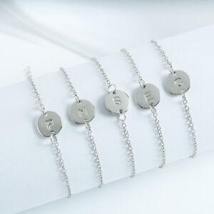Silver Women Alphabet Letter Initial Friendship Bridesmaid Gift Chain Bracelet
