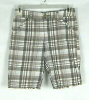 ST JOHNS BAY Womens size 6 Tan White Plaid Bermuda Shorts