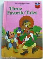 Vintage 1975 Three Favourite Tales Hardback Book Walt Disney's Wonderful Reading