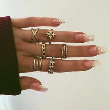 8 Pcs/Set Silver Midi Finger Ring Set Vintage Punk Boho Knuckle Rings Jewelry