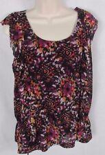 Apt. 9  Petite Large top blouse black abstract geometric floral career women's