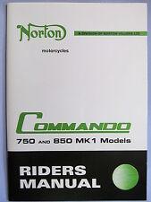 NORTON COMMANDO 750cc + 850cc MK1 MODEL RIDERS MANUAL / INSTRUCTION BOOK 06-3852