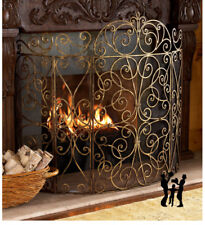 """Antique Gold Iron 5 Panel French Scroll Fireplace Screen and Mesh Backing 62""""W"""
